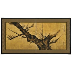 17th Century Japanese Screen, Ink Plum Blossoms by Priest Hozobo Kojo