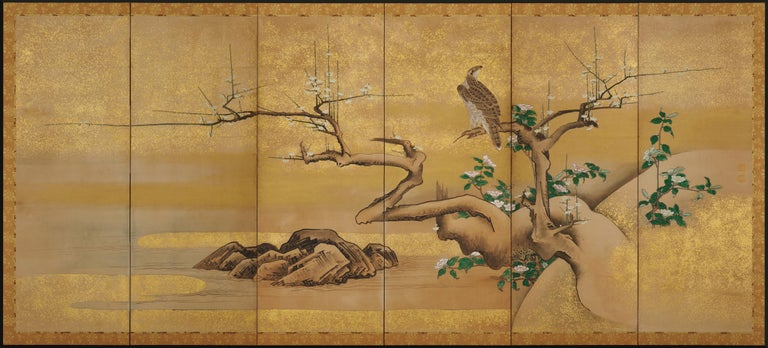 17th Century Japanese Screen Pair by Soga Nichokuan, Hawks on Pine & Plum Trees For Sale 1