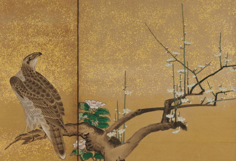 17th Century Japanese Screen Pair by Soga Nichokuan, Hawks on Pine & Plum Trees For Sale 2