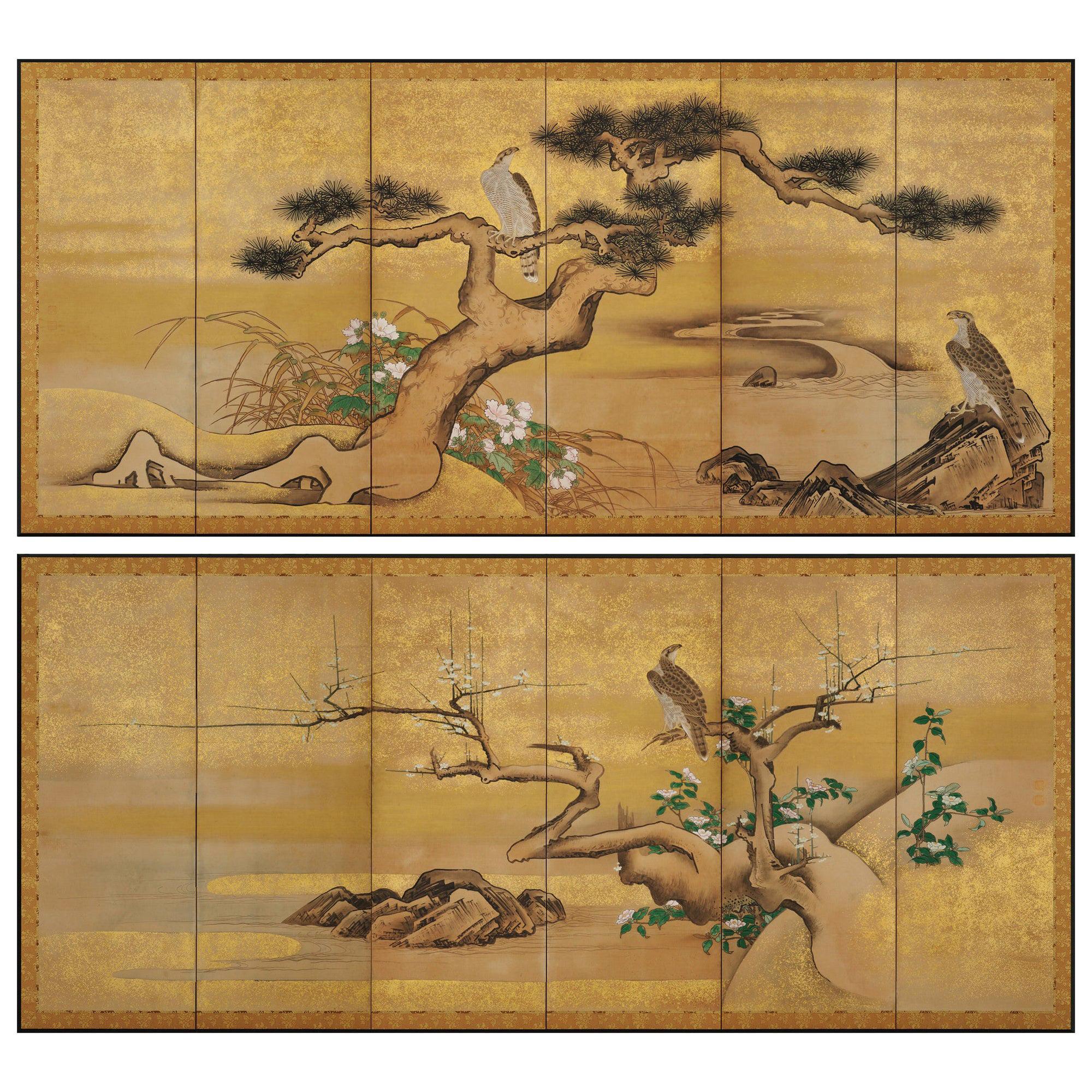 17th Century Japanese Screen Pair by Soga Nichokuan, Hawks on Pine & Plum Trees