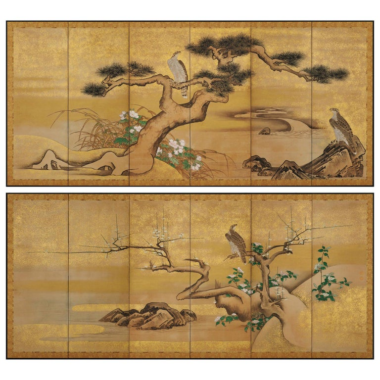 17th Century Japanese Screen Pair by Soga Nichokuan, Hawks on Pine & Plum Trees For Sale
