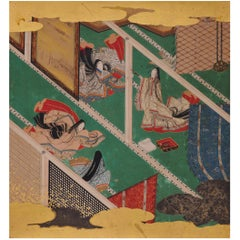 17th Century Japanese Tale of Genji Painting, Makibashira, Tosa School