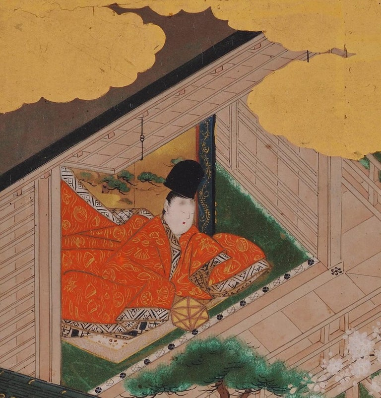 Edo 17th Century Japanese Tale of Genji Painting, Tosa School For Sale