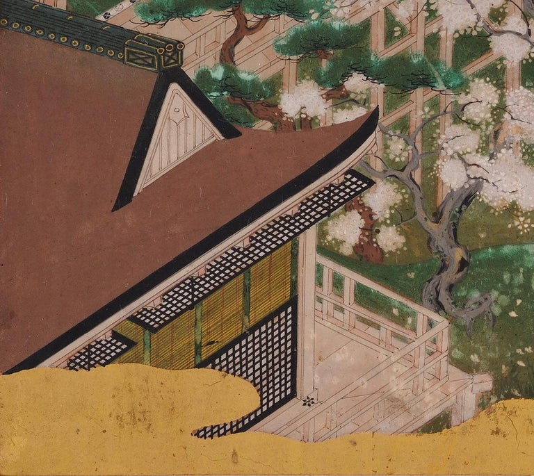 Hand-Painted 17th Century Japanese Tale of Genji Painting, Tosa School For Sale
