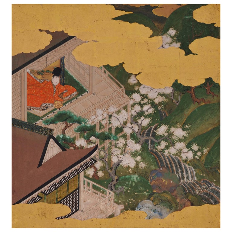 17th Century Japanese Tale of Genji Painting, Tosa School For Sale