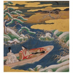 17th Century Japanese Tale of Genji Painting, Ukifune, Tosa School