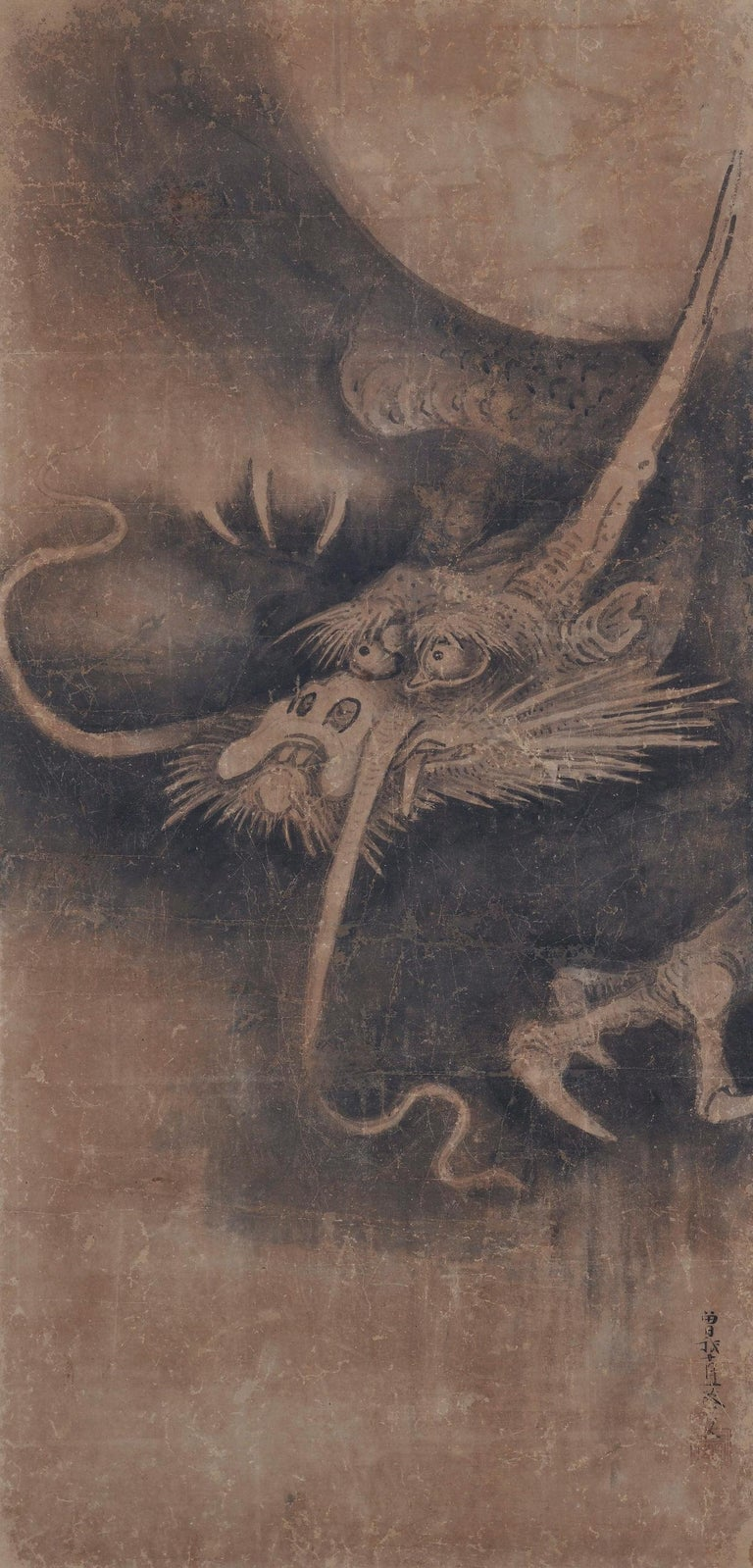 Edo Japanese Scroll Painting, 17th Century Tiger & Dragon Pair by Soga Nichokuan For Sale