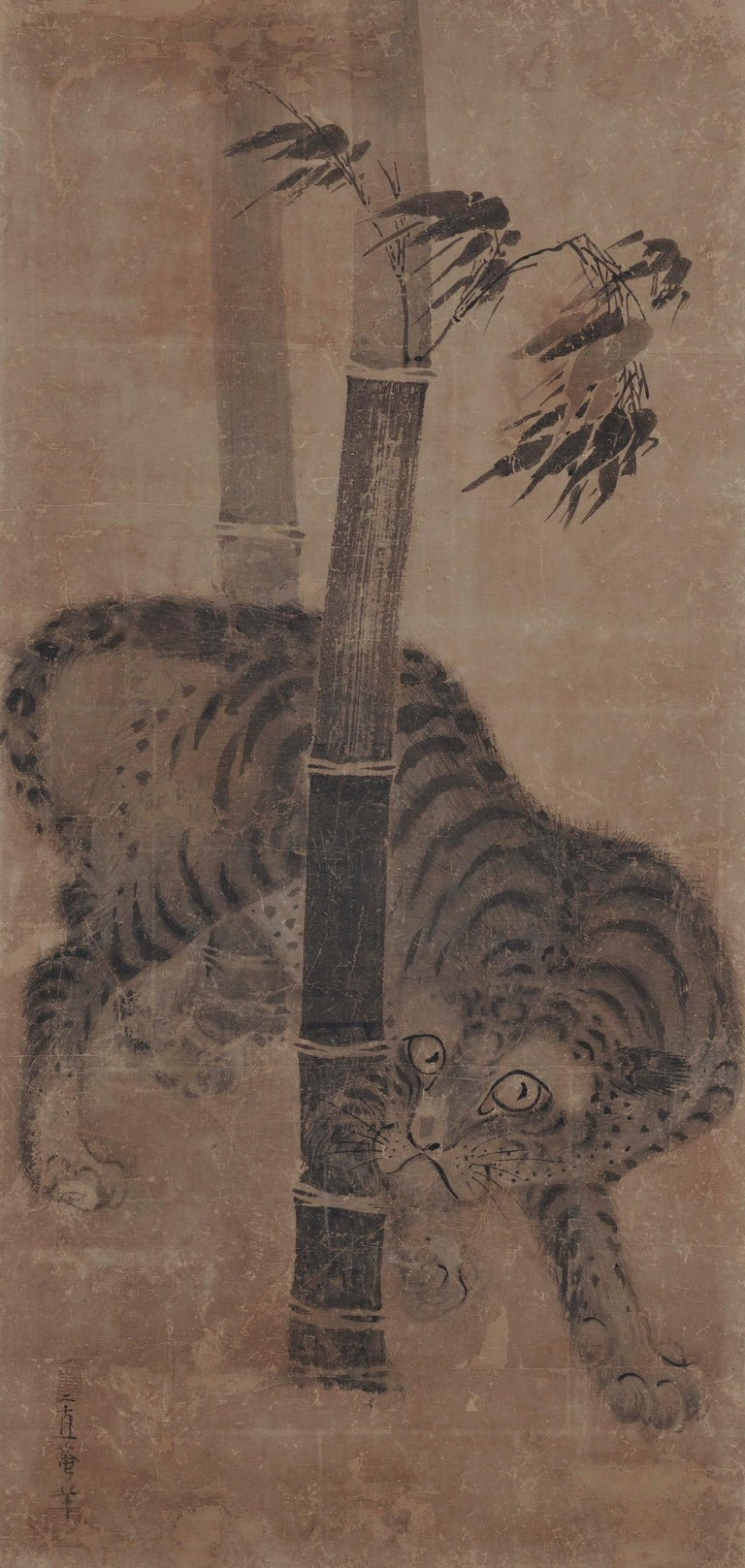 Hand-Painted Japanese Scroll Painting, 17th Century Tiger & Dragon Pair by Soga Nichokuan For Sale