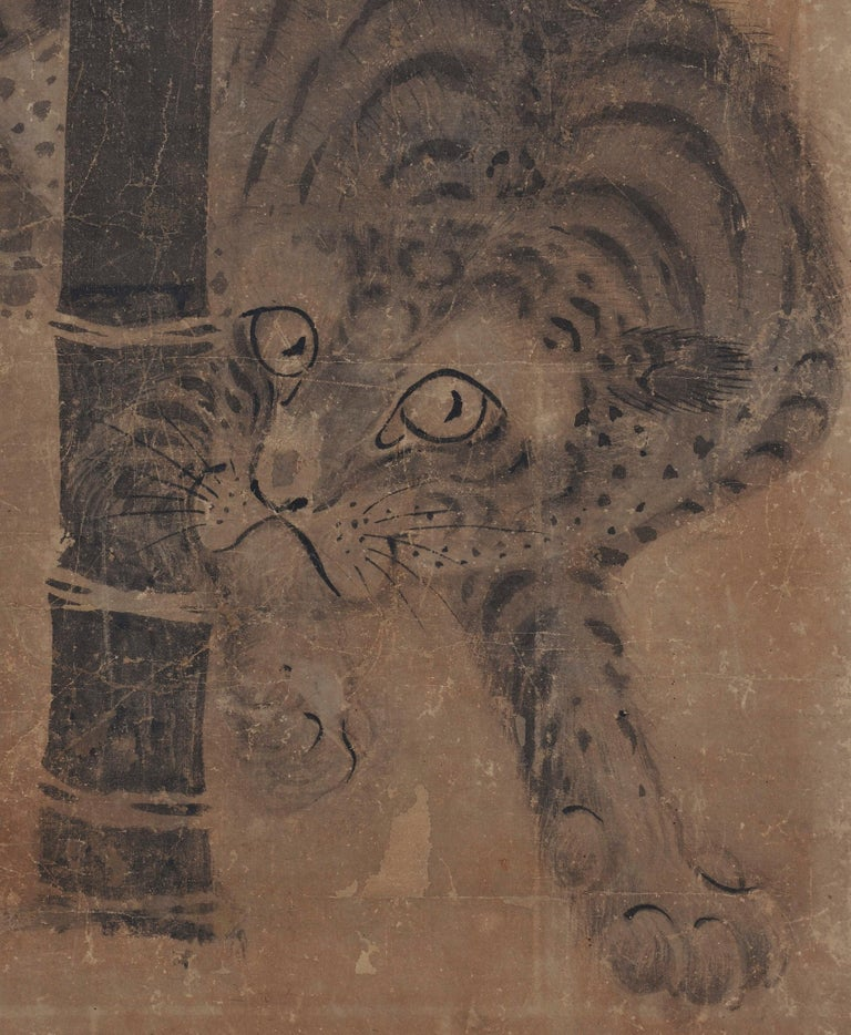 Paper Japanese Scroll Painting, 17th Century Tiger & Dragon Pair by Soga Nichokuan For Sale