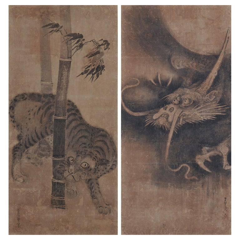 Japanese Scroll Painting, 17th Century Tiger & Dragon Pair by Soga Nichokuan For Sale