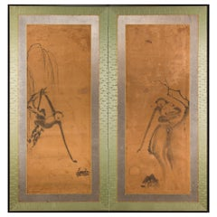 17th Century Japanese Two-Panel Screen, Gibbons of Folklore
