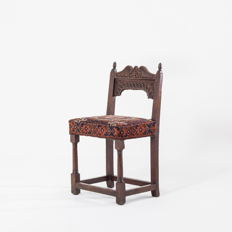 17th Century Joined Oak Back Stool In Good Condition For Sale In York, GB