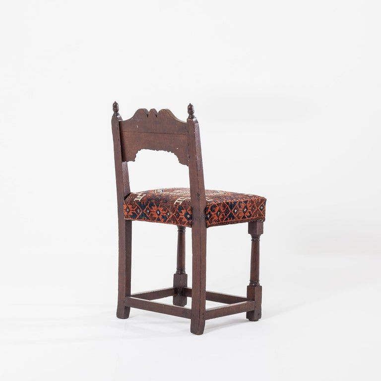 18th Century and Earlier 17th Century Joined Oak Back Stool For Sale