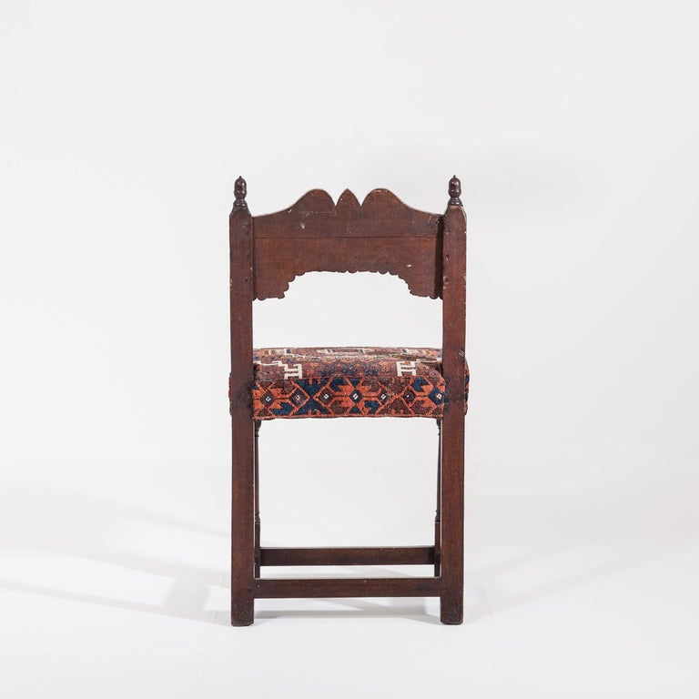 17th Century Joined Oak Back Stool For Sale 1