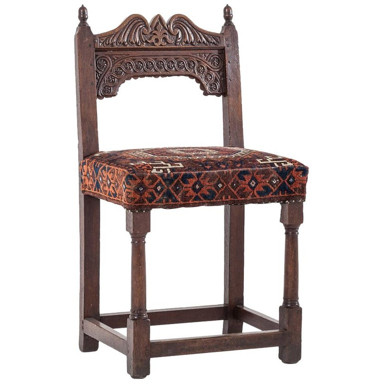 17th Century Joined Oak Back Stool For Sale