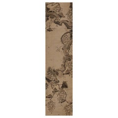 17th Century Korean Grapevine and Squirrel Scroll Painting, Mid Joseon Period