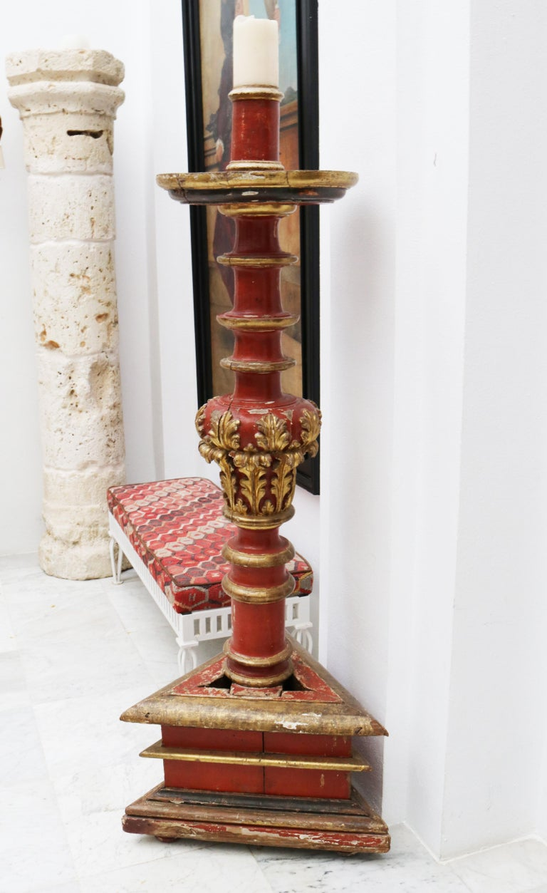 17th Century Large Spanish Gold Gilded and Red Painted Wooden Pricket Stick 5