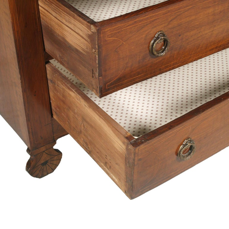 17th Century Lombard-Piedmont Area, Chest of Drawers, Inlaid Walnut Wax-Polished For Sale 5