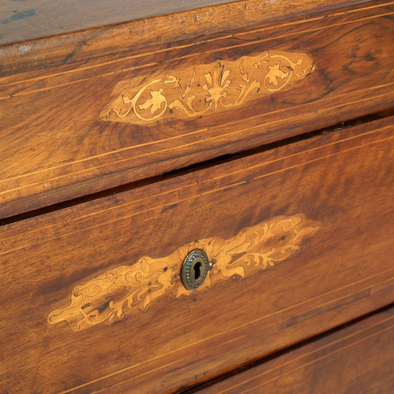 Inlay 17th Century Lombard-Piedmont Area, Chest of Drawers, Inlaid Walnut Wax-Polished For Sale