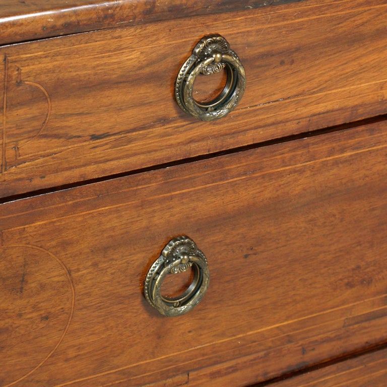 17th Century Lombard-Piedmont Area, Chest of Drawers, Inlaid Walnut Wax-Polished For Sale 1
