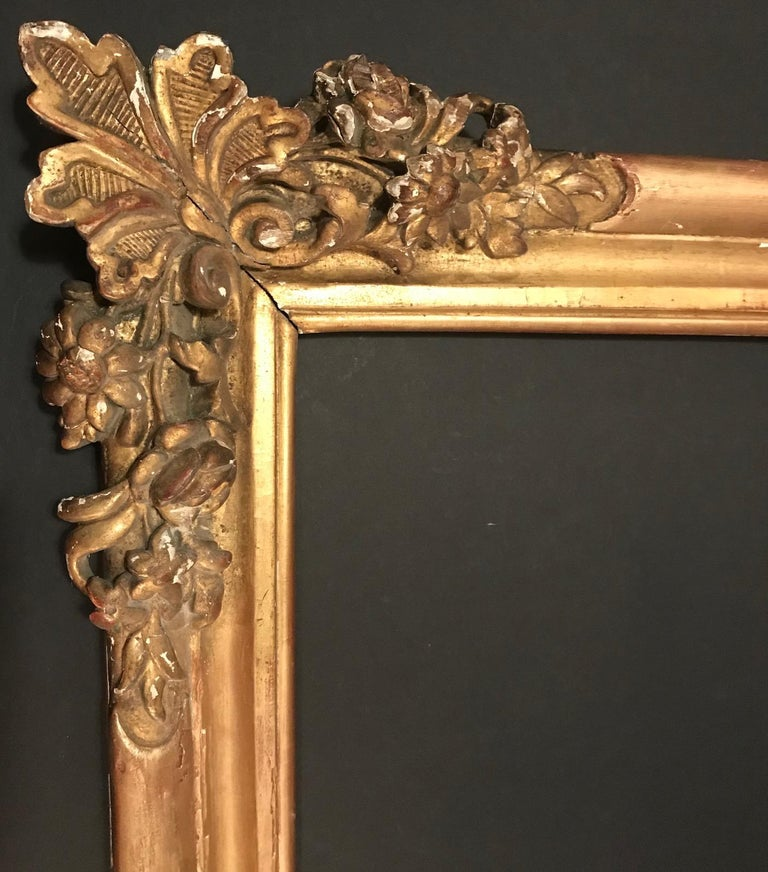 Hand-Carved 17th Century Louis XIV Large Giltwood Frame For Sale