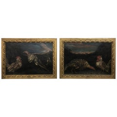 17th Century Louis XIV Pair of Paintings Lombard School Manner of Crivelli, 1690