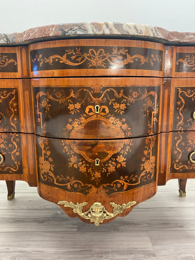 Parquetry Louis XVI Marble Top Commode For Sale