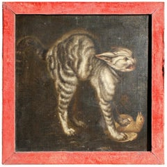 17th Century Manner of Johannes Fijt, Killer Cat Oil on Canvas