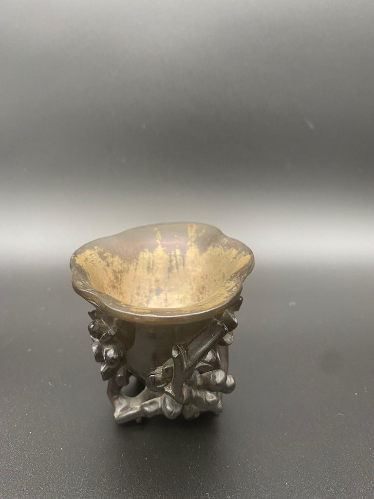 17th Century Ming Dynasty Chinese Zitan Libation Cup Silver Inlaid For Sale 9