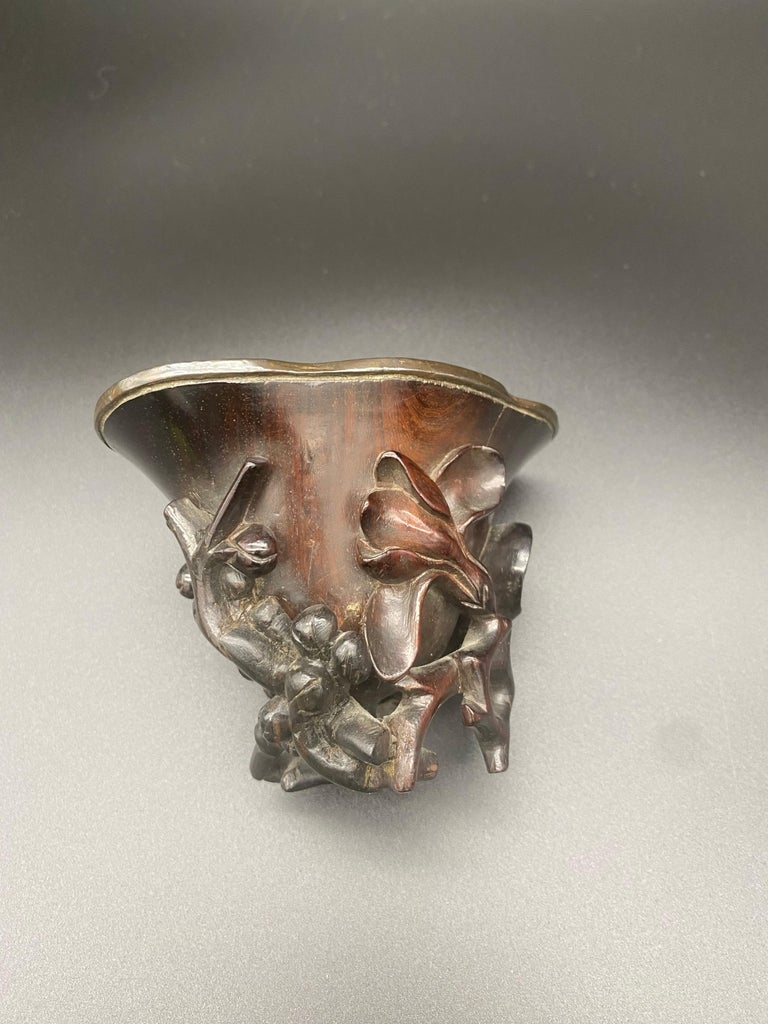 17th Century Ming Dynasty Chinese Zitan Libation Cup Silver Inlaid In Good Condition For Sale In Brea, CA