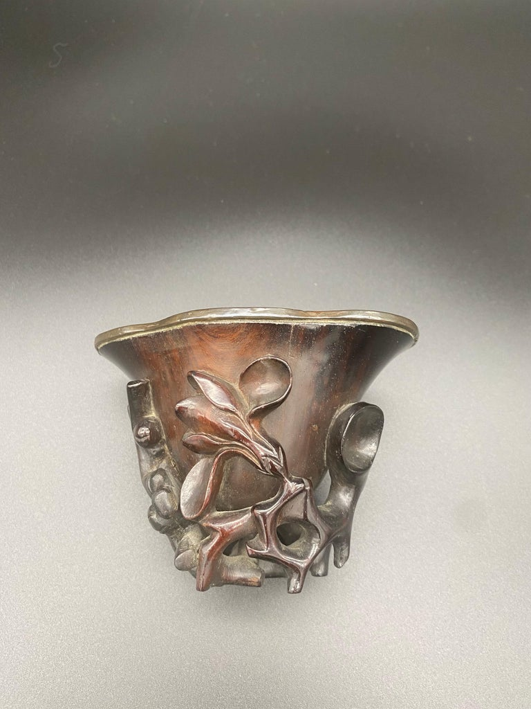 Wood 17th Century Ming Dynasty Chinese Zitan Libation Cup Silver Inlaid For Sale