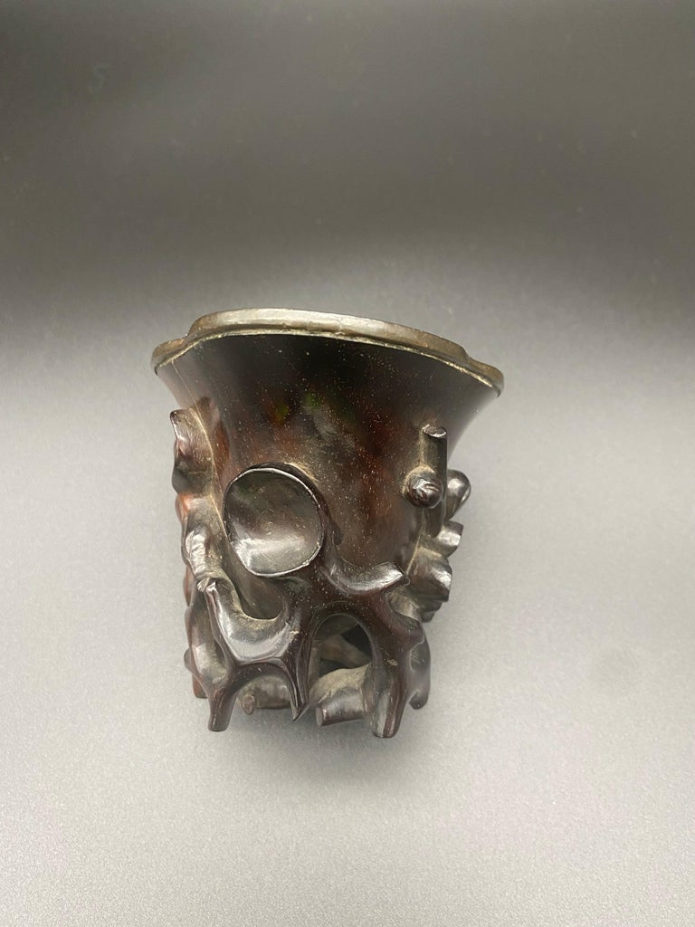 17th Century Ming Dynasty Chinese Zitan Libation Cup Silver Inlaid For Sale 1