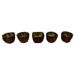 17th Century Qing Dynasty Set of 5 Chinese Bamboo Tea Cups with Silver Inlaid