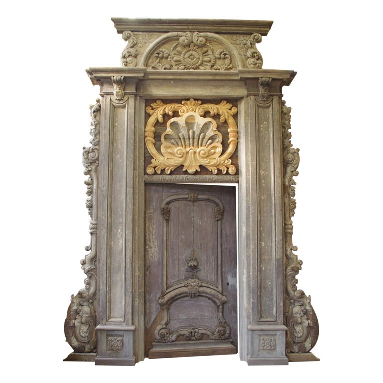 17th Century Monumental Door and Frame Fully Restored For Sale