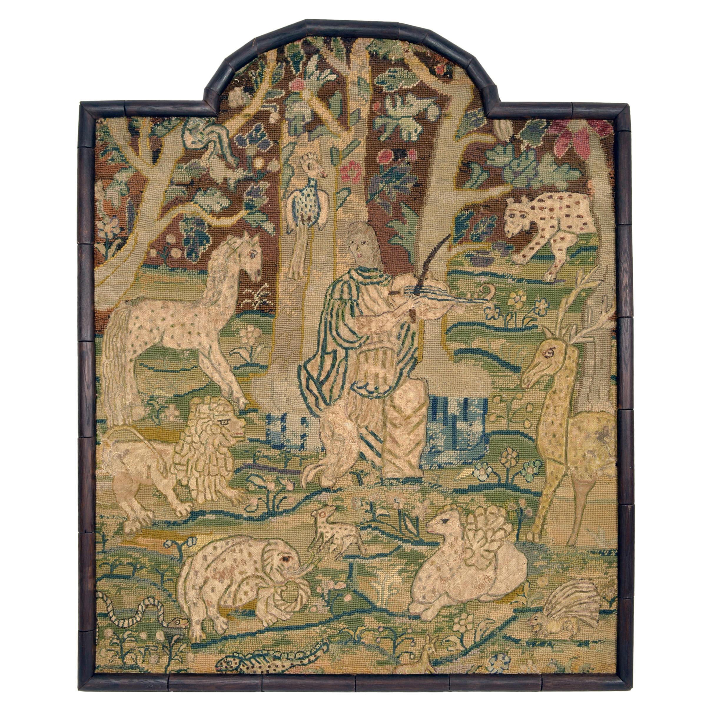 17th Century Needlework of Orpheus Taming the Wild Animals, circa 1640