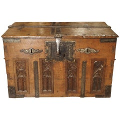 17th Century Oak and Iron Strong Box
