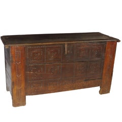 17th Century Oak Coffer, Trunk, Chest of Arms