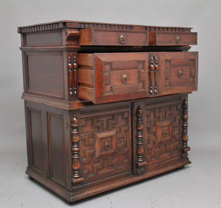 17th Century Oak Enclosed Chest of Drawers For Sale 8