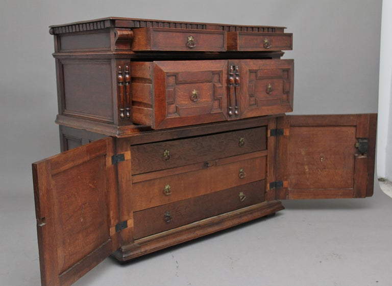 17th Century Oak Enclosed Chest of Drawers For Sale 9