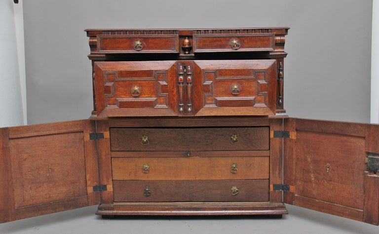 British 17th Century Oak Enclosed Chest of Drawers For Sale
