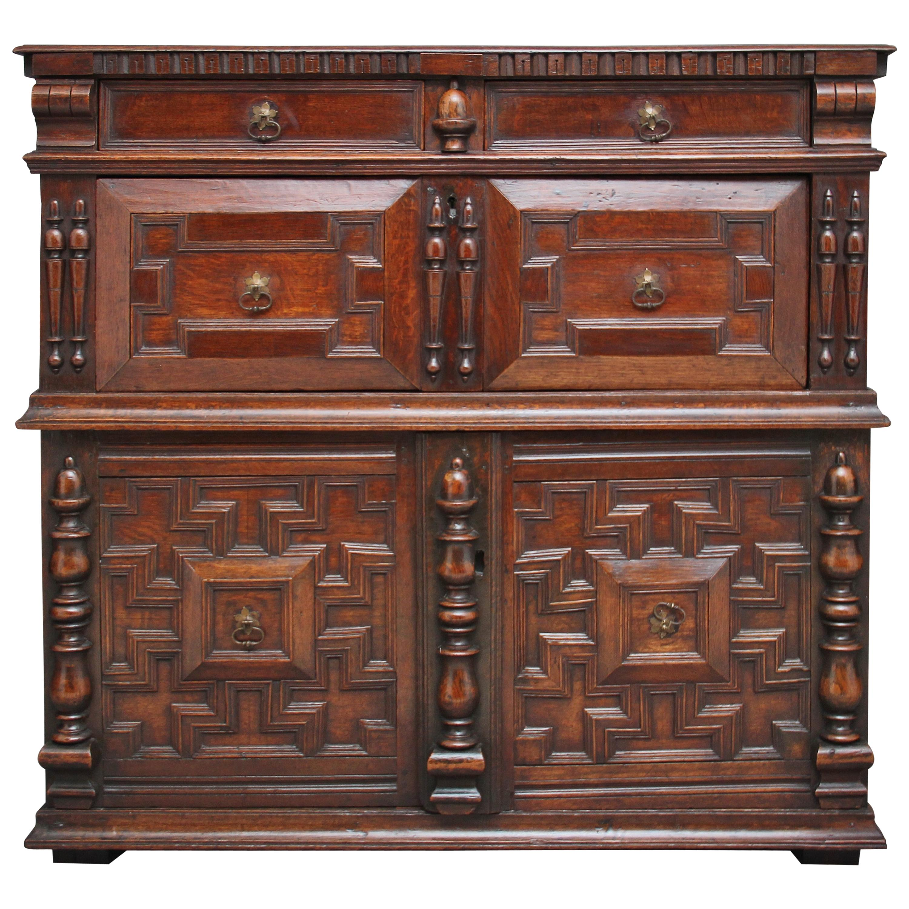 17th Century Oak Enclosed Chest of Drawers