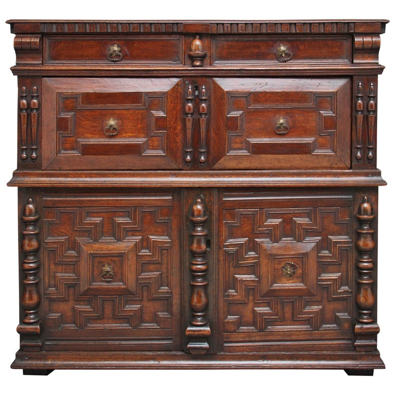 17th Century Oak Enclosed Chest of Drawers For Sale
