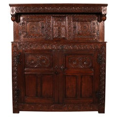 17th Century Oak Press Cupboard Buffet-North of England