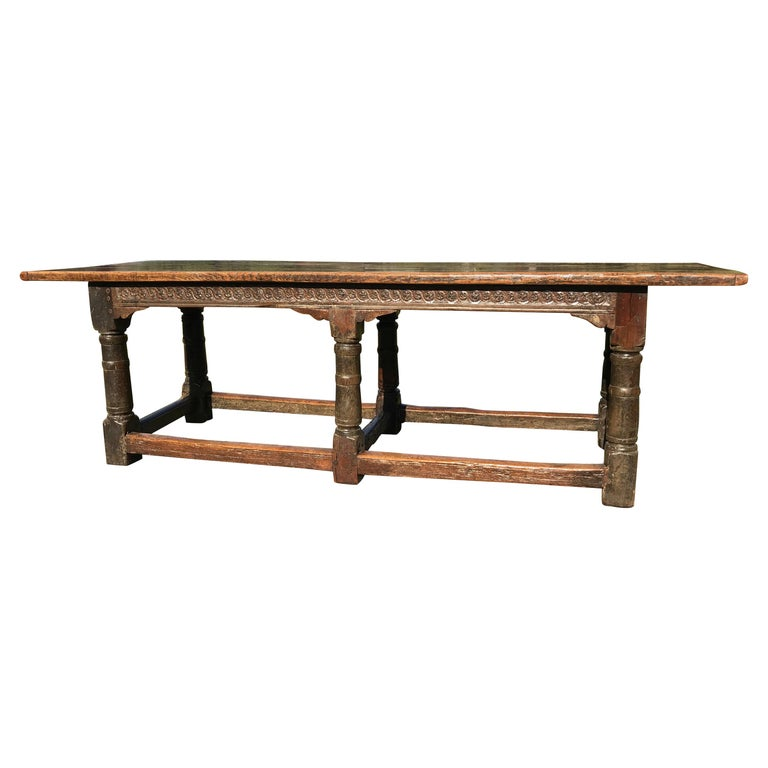 17th Century Oak Refectory Table, Charles II Period For Sale