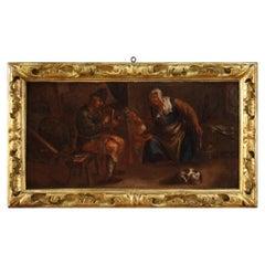 17th Century Oil on Canvas Antique Flemish Painting Family Interior Scene, 1650