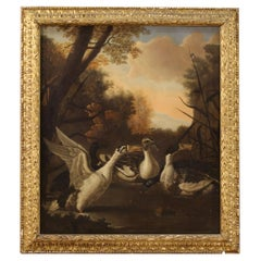 17th Century Oil on Canvas Antique Italian Painting Landscape with Ducks, 1680
