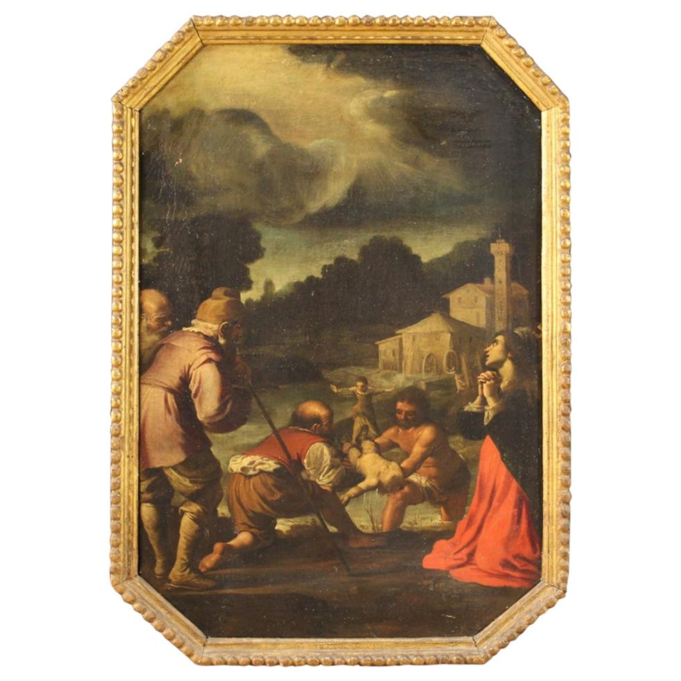 17th Century Oil on Canvas Antique Italian Religious Painting, 1680