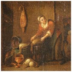 17th Century Oil on Canvas Flemish Antique Interior Scene Painting, 1680