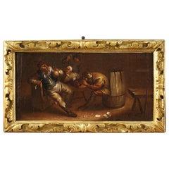 17th Century Oil on Canvas Flemish Interior Scene Painting, 1650