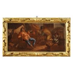 17th Century Oil on Canvas Flemish Painting Interior Scene Tavern, 1650
